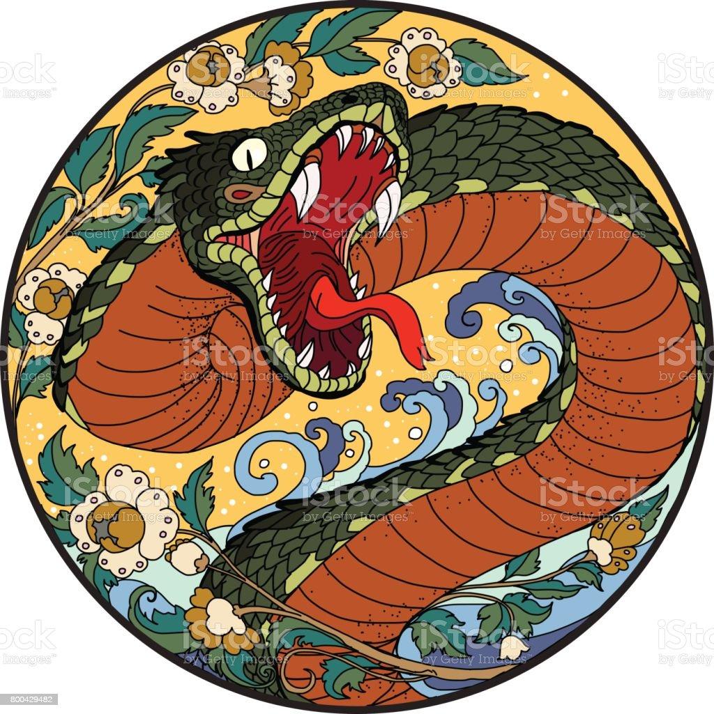 tattoo design Snake with Line Thai flower vector art illustration