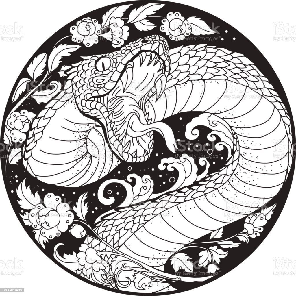 9b3c1a195754a Tattoo Design Snake With Line Thai Flower Stock Vector Art & More ...