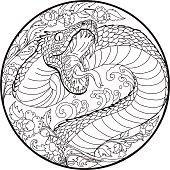 tattoo design Snake with Line Thai flower