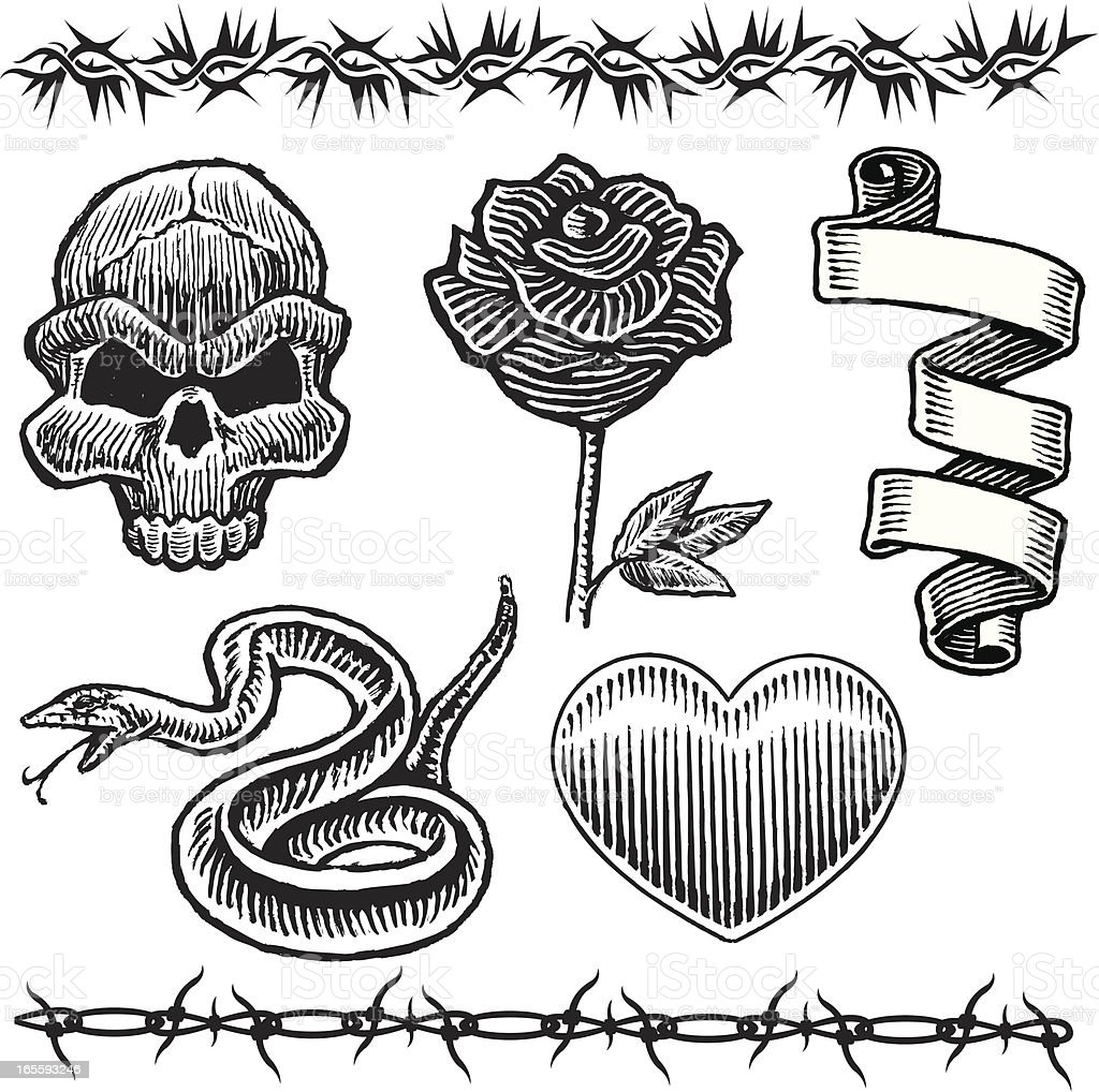 Tattoo Designs Skull Snake Heart Rose Barbed Wire Stock Vector Art ...