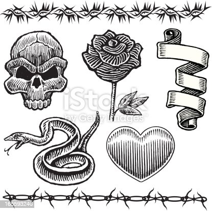 Various mix and match tattoo art with rose, heart, skull, snake, ribbon and barb wire. Layered for easy separation. Scale to any size. Check out my