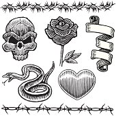 "Various mix and match tattoo art with rose, heart, skull, snake, ribbon and barb wire. Layered for easy separation. Scale to any size. Check out my ""Tattoo You"" light box for more."
