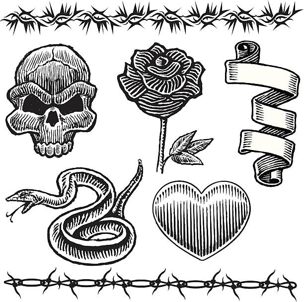 tattoo designs, skull, snake heart, rose, barbed wire - snakes tattoos stock illustrations, clip art, cartoons, & icons