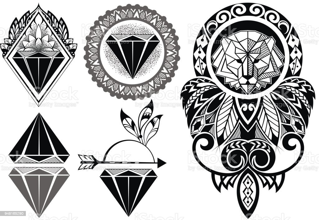 Line Art Tattoo Designs : Tattoo diamonds and design with lion stock vector art