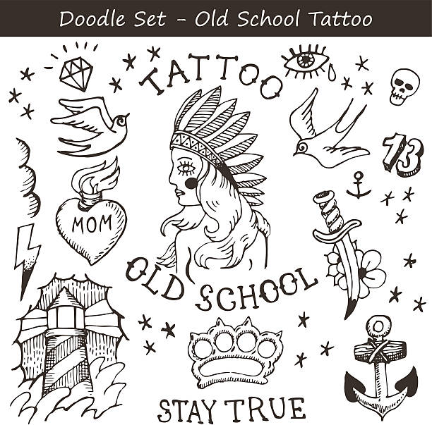 スケッチタトゥー - ダイヤモンドのタトゥー点のイラスト素材/クリップアート素材/マンガ素材/アイコン素材