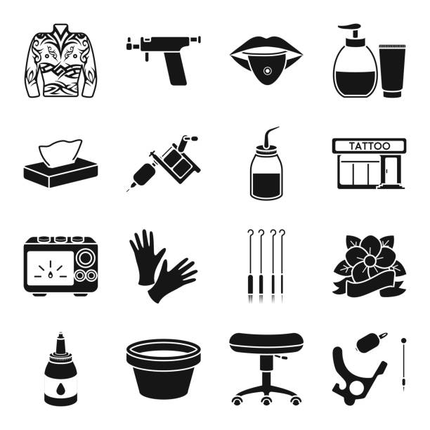 Tattoo, drawing on the body black icons in set collection for design. Tattoo salon and equipment vector symbol stock web illustration. - illustrazione arte vettoriale