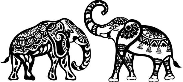 tattoo-elefanten - elefantenkunst stock-grafiken, -clipart, -cartoons und -symbole