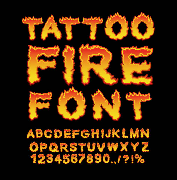 illustrations, cliparts, dessins animés et icônes de tattoo fire font. flame alphabet. fiery letters. burning abc. ho - tatouages feu