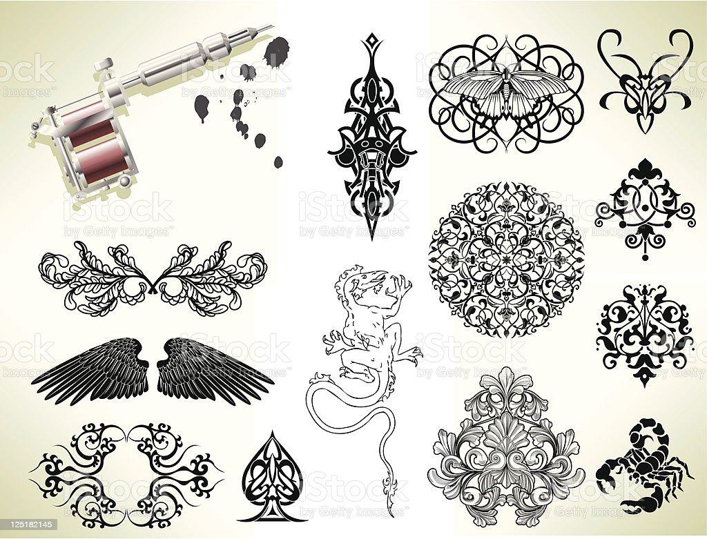 Tatuaje flash elementos de diseño - ilustración de arte vectorial