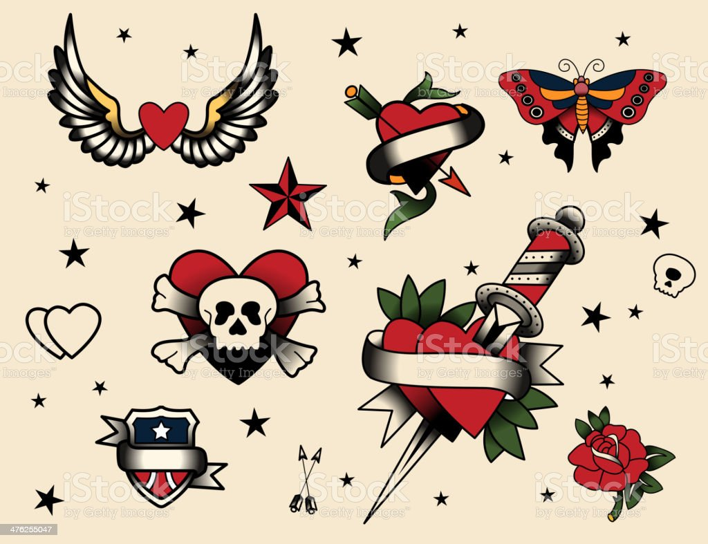 Tattoo Flash Set vector art illustration