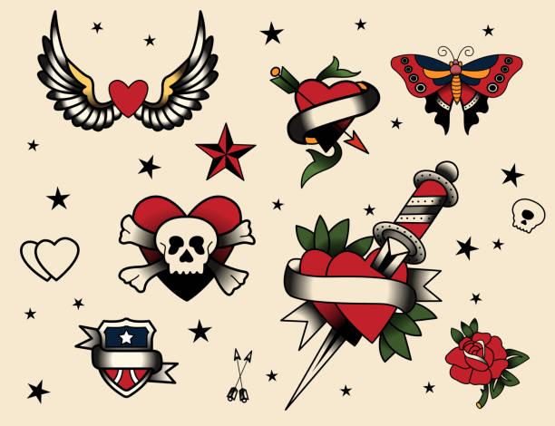 タトゥーフラッシュセット - 星のタトゥー点のイラスト素材/クリップアート素材/マンガ素材/アイコン素材