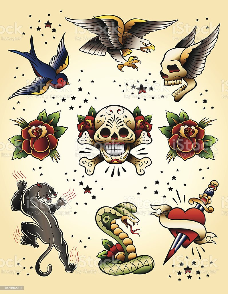 Tattoo Flash Vector Elements Set vector art illustration