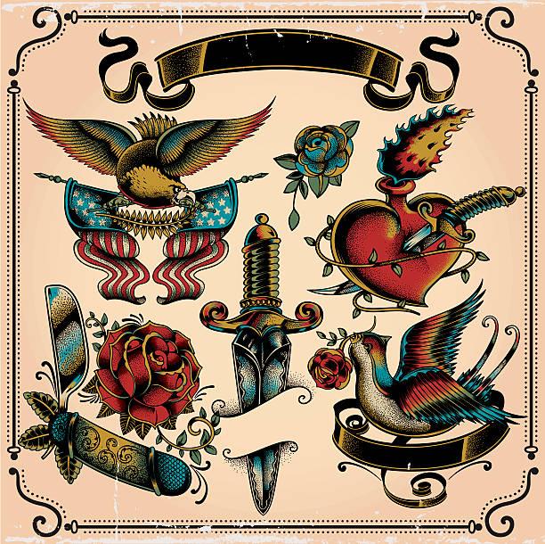 illustrations, cliparts, dessins animés et icônes de tatouage de flash - tatouages de bannières