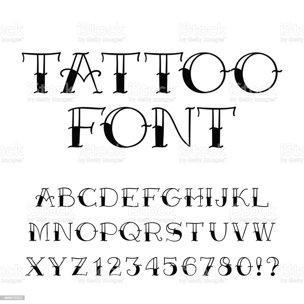 Tattoo font. Vintage style alphabet. Letters and numbers. vector art illustration