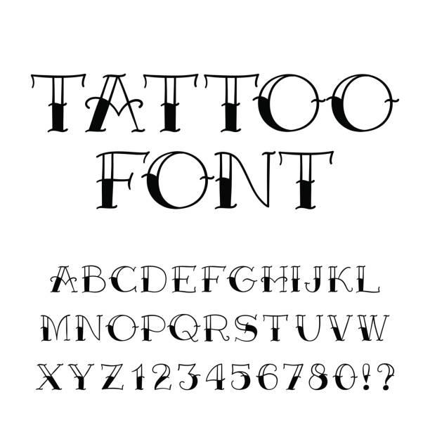 illustrations, cliparts, dessins animés et icônes de police de tatouage. alphabet de style vintage. lettres et chiffres. - tatouage