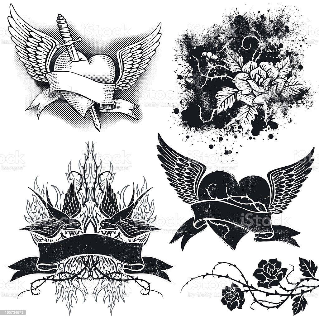 Tattoo Grunge Elements royalty-free stock vector art