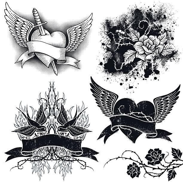 ilustraciones, imágenes clip art, dibujos animados e iconos de stock de tatuaje grunge elements - tatuajes de corazones