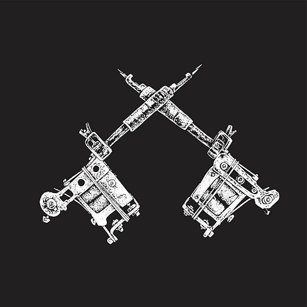 tattoo guns vector art illustration