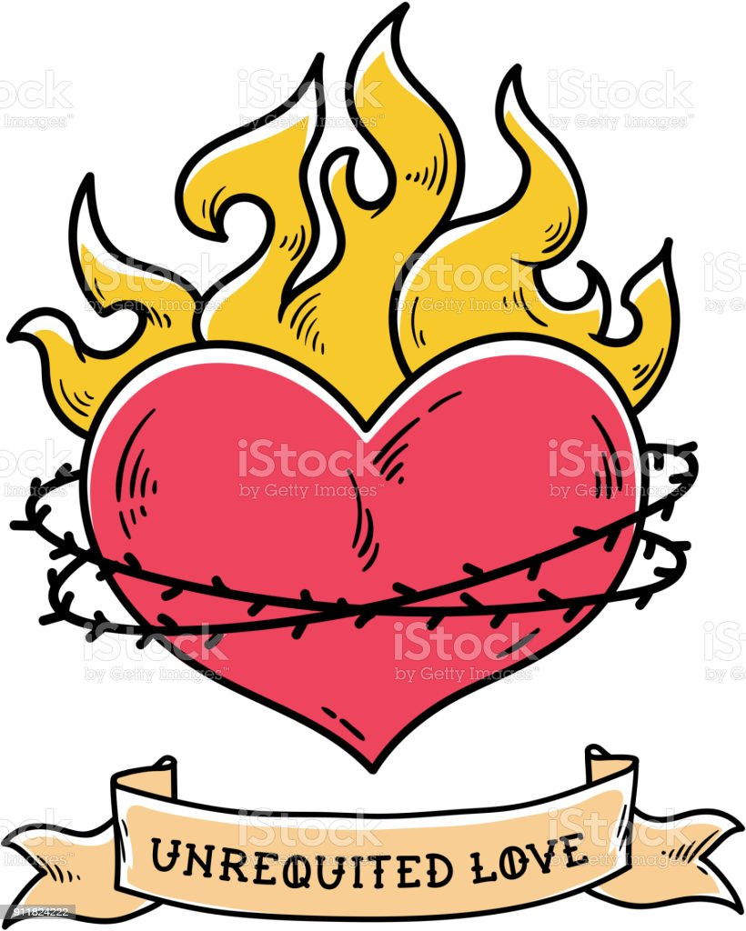 Tattoo. Heart in a crown of thorns.Unrequited love vector art illustration