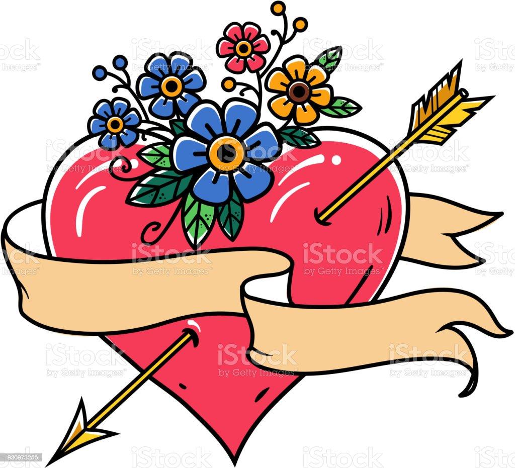 Tatouage Cœur Transperce Par Une Fleche Or Avec Ruban Et De Fleurs