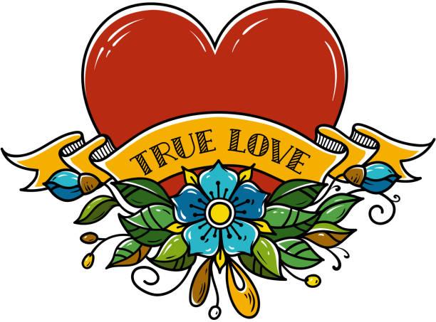 ilustrações, clipart, desenhos animados e ícones de tatuagem coração perfurado com seta. coração decorado com flores, folhas e fita. amor verdadeiro. símbolo de amor - tatuagens de faixas