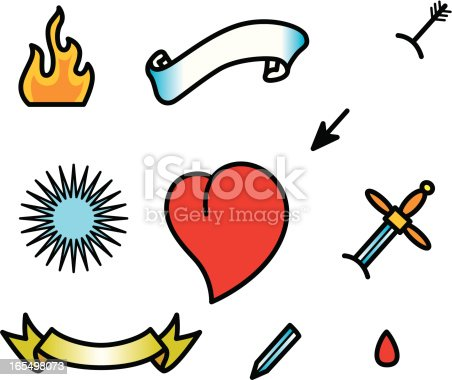istock tattoo heart set 165498073