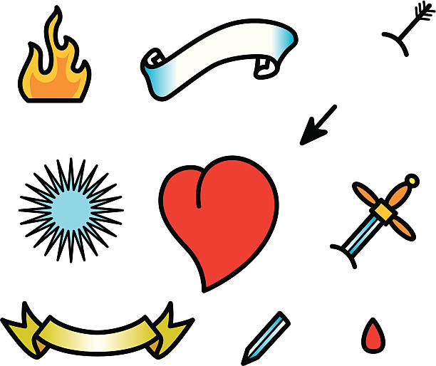 tattoo heart set - fire tattoos stock illustrations, clip art, cartoons, & icons