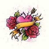 Hand-drawn heart tattoo with banner and roses. Global colors used, hi res jpeg included. Illustration is not flattened, tattoo outline is single object .Scroll down to see more of my illustrations.