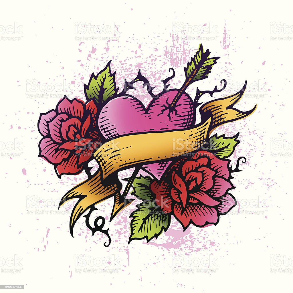 Tattoo Heart vector art illustration