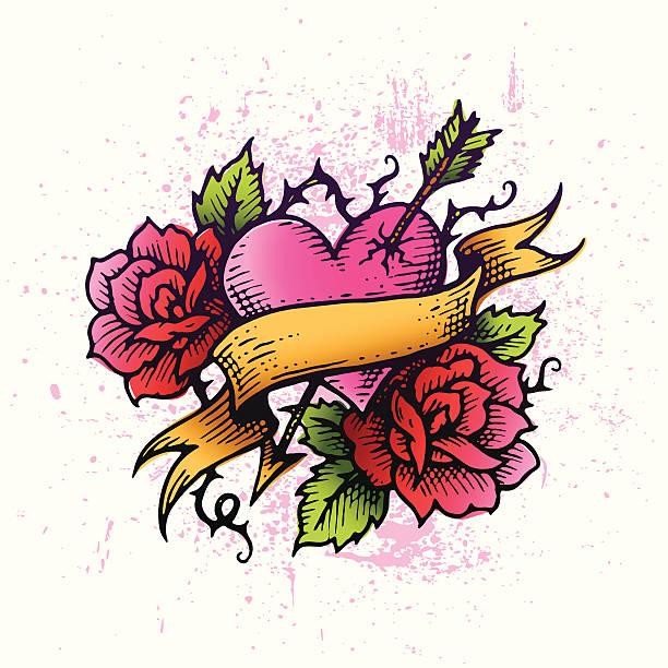 ilustraciones, imágenes clip art, dibujos animados e iconos de stock de tatuaje corazón - tatuajes de corazones