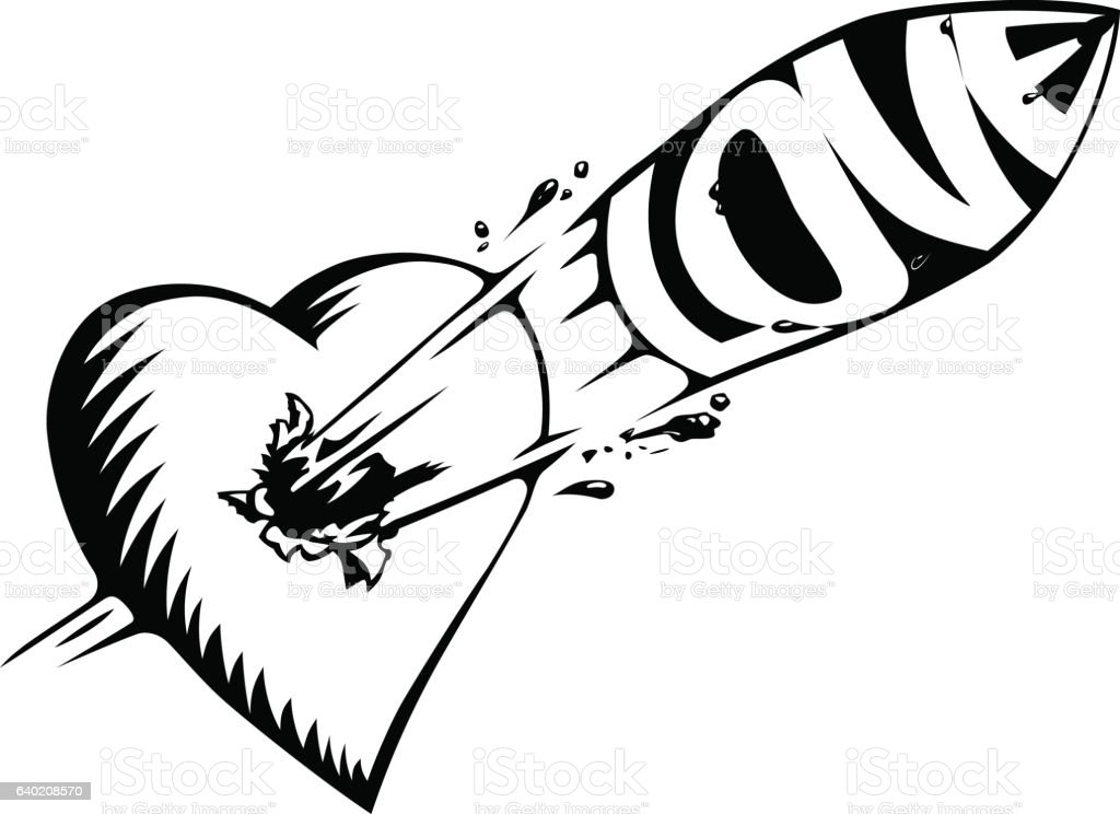 Line Art Of Heart : Tattoo heart with a bullet love stock vector art & more images of