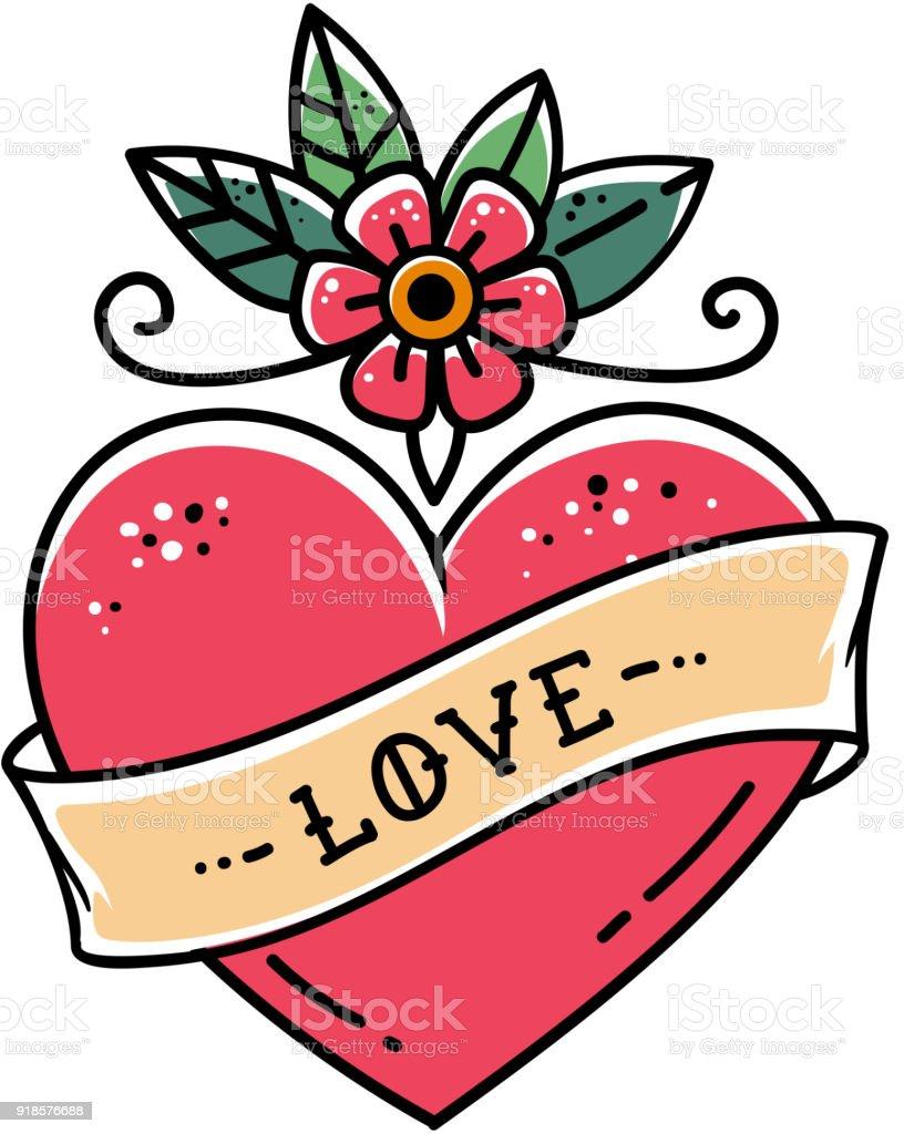 Tatouage Coeur Avec Fleurs Et Ruban Symbole De Lamour Cliparts