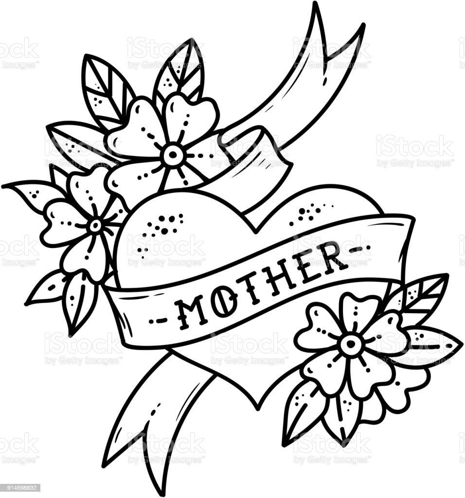 Ilustración De Tatuaje De Corazón Con Cinta Flores Y Letras Madre