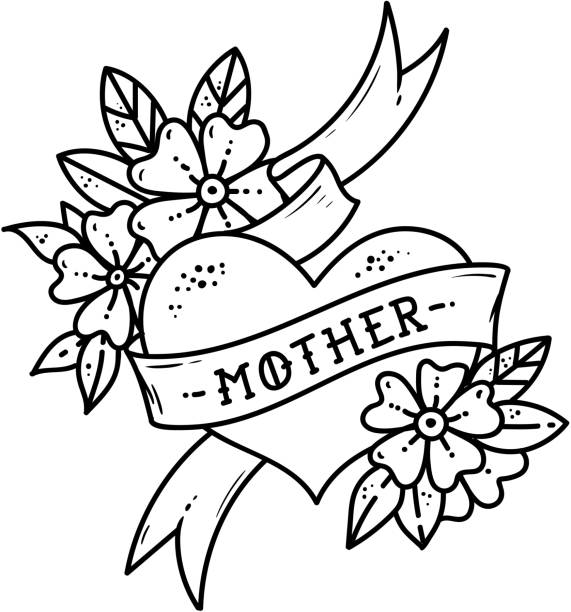 Black Flower Heart Shape Illustration Tattoo On White: Top 60 Mom Tattoo Clip Art, Vector Graphics And