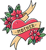 Tattoo heart with ribbon, flowers and word mother. Old school retro vector illustration. Retro tattoo