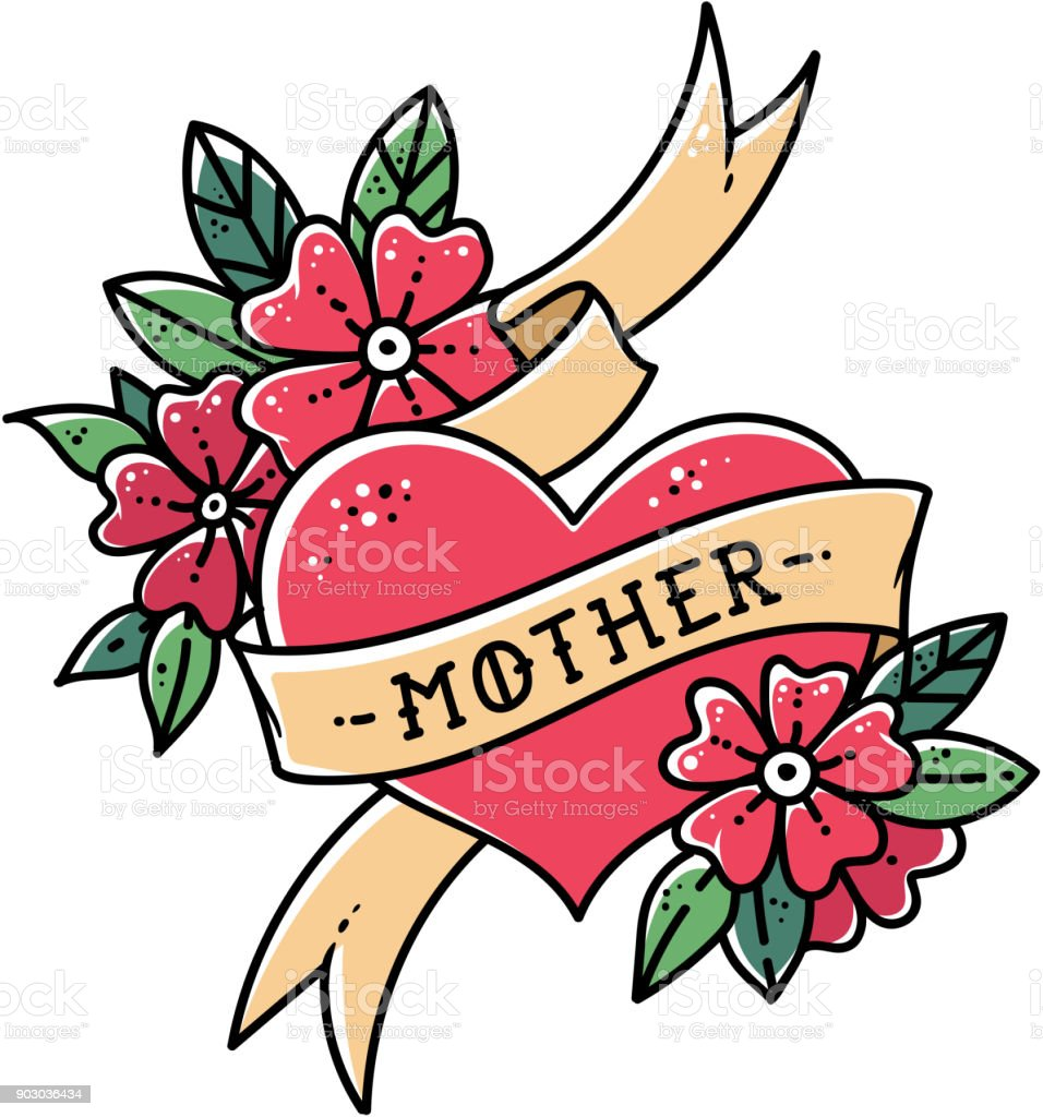 Tatouage coeur avec ruban, des fleurs et des mots de mère. Illustration de vecteur rétro old school. Tatouage rétro - Illustration vectorielle