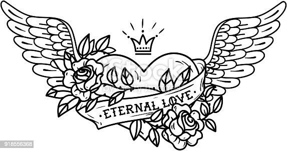 Ilustración de Tatuaje De Corazón Con Alas La Cinta Rosas Y Corona ...