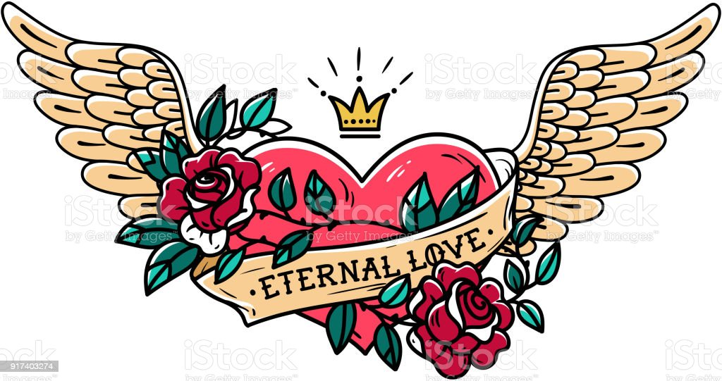 Tattoo heart with wings, ribbon, roses and crown. Old school tattoo Tattoo flying heart entwined in climbing rose. Tattoo heart with wings, ribbon, roses and crown. Retro illustration. Old school tattoo Angel stock vector