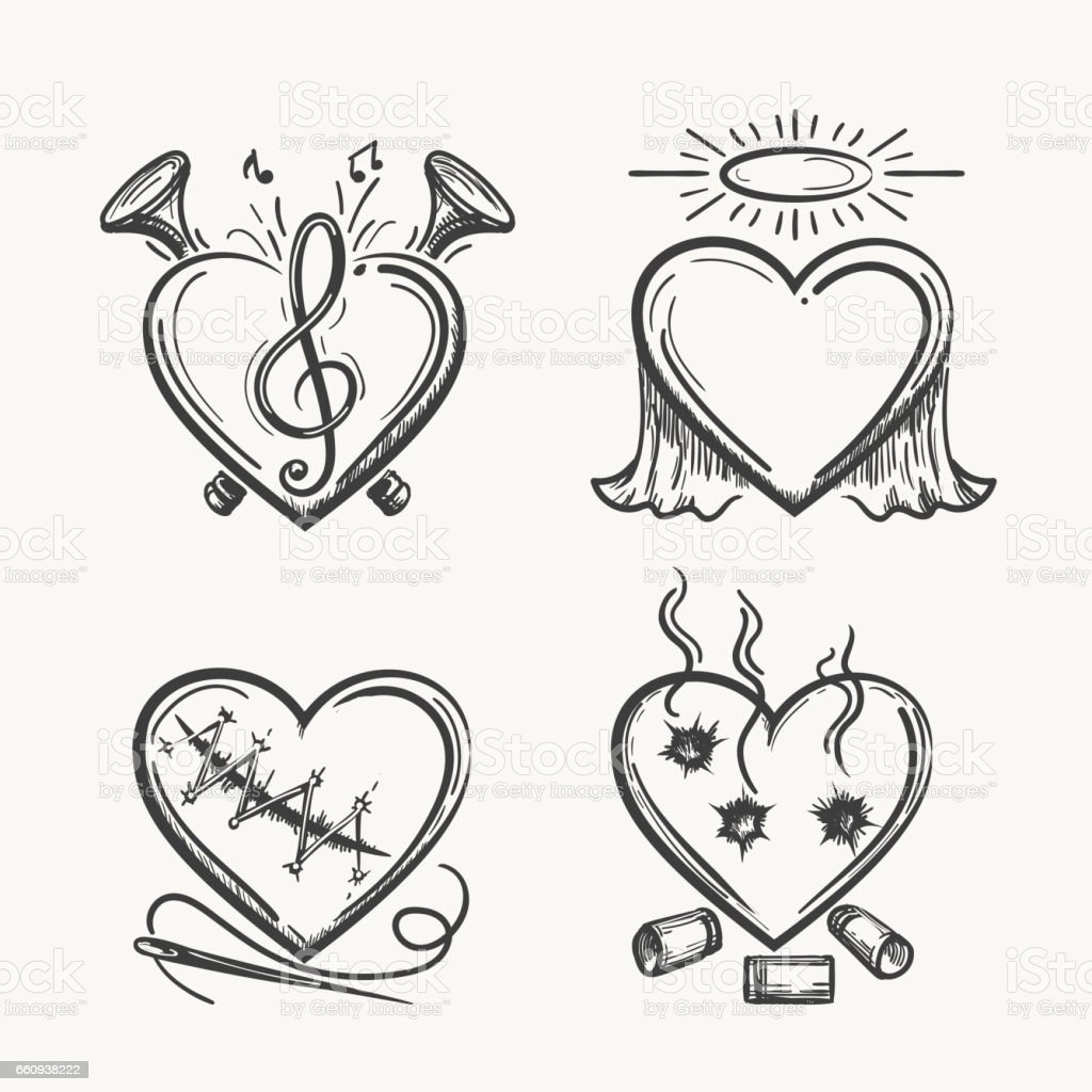 Tattoo hearts. Hand drawn heart icons vector illustration. Angel of music, needle and bullets isolated on white background vector art illustration