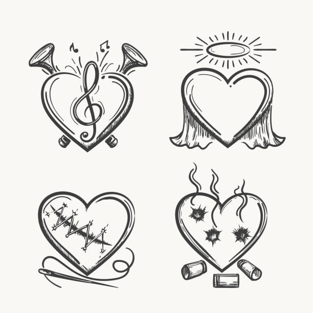 tattoo hearts. hand drawn heart icons vector illustration. angel of music, needle and bullets isolated on white background - angels tattoos stock illustrations, clip art, cartoons, & icons
