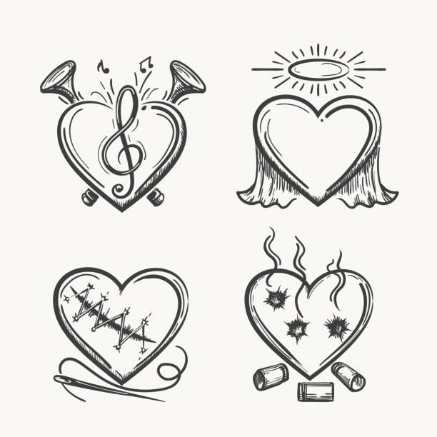 tattoo-herzen. handgezeichnete herz symbole vektor-illustration. engel der musik, nadel und kugeln isoliert auf weißem hintergrund - engel tattoos stock-grafiken, -clipart, -cartoons und -symbole