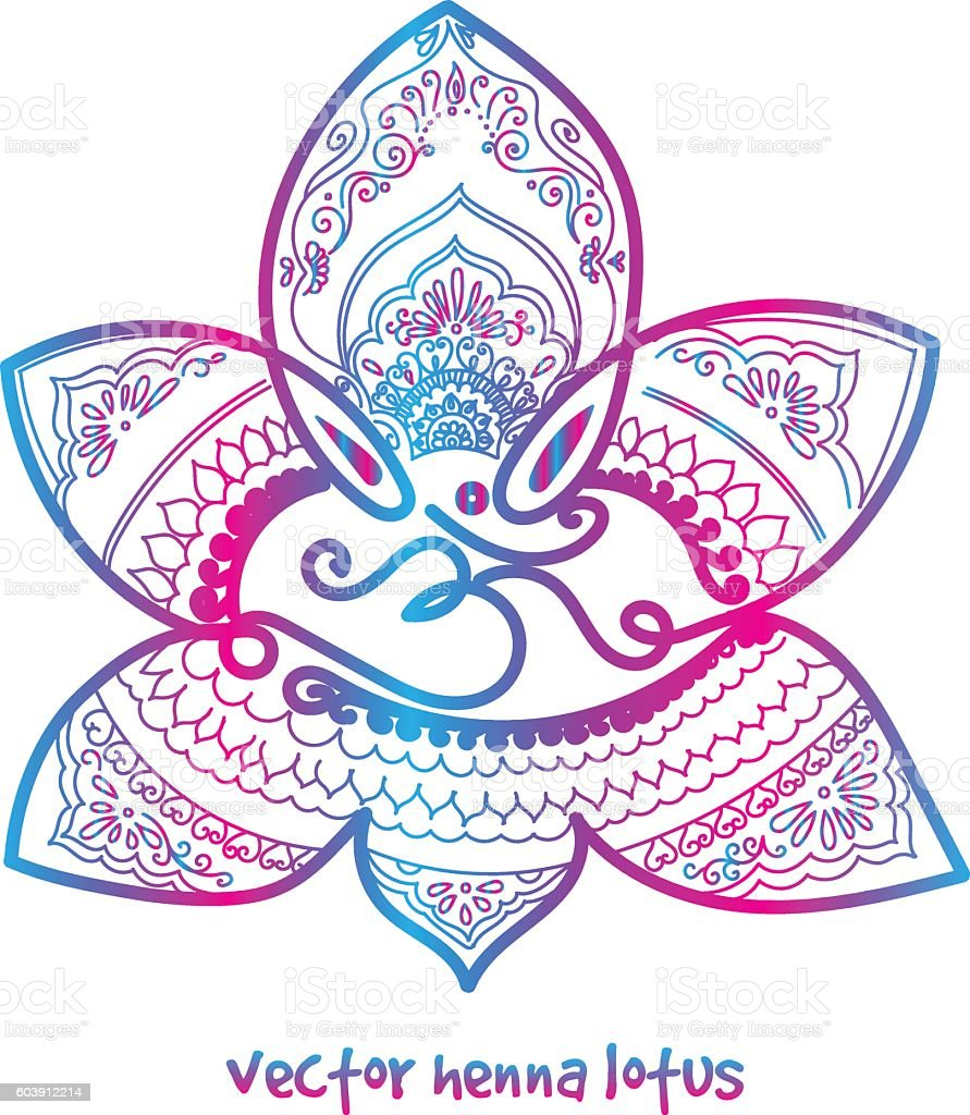 Tattoo Henna Lotus Stock Vector Art More Images Of Abstract