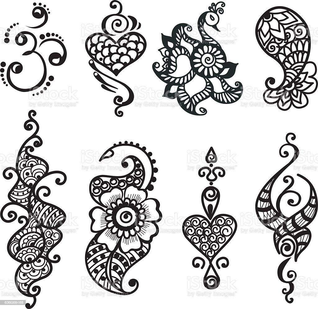 татуировка хной набор Mandala стоковая векторная графика и другие