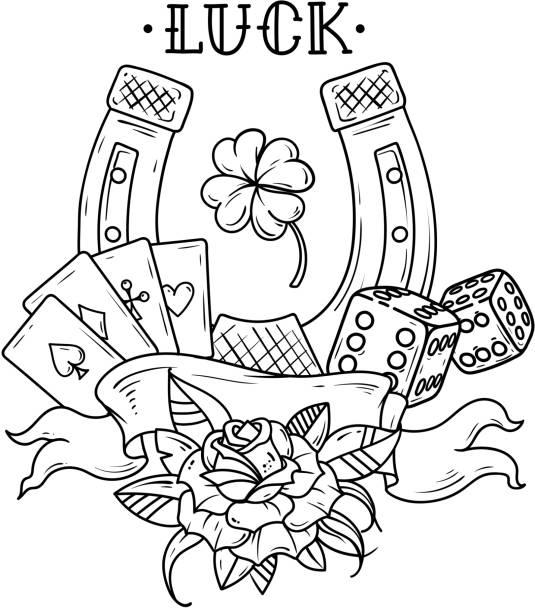 Vectores de Trebol De Cuatro Hojas Tatuaje e Ilustraciones Libres de ...