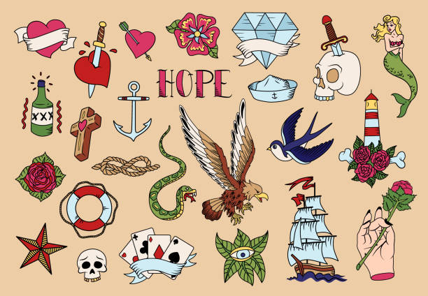 illustrations, cliparts, dessins animés et icônes de ensemble d'icônes de tatouage - tatouages sirènes