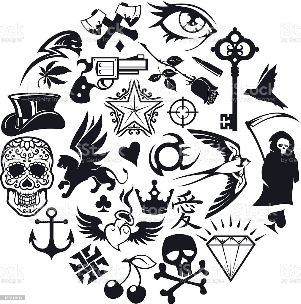 tattoo icons set - Royalty-free Abstract stock vector