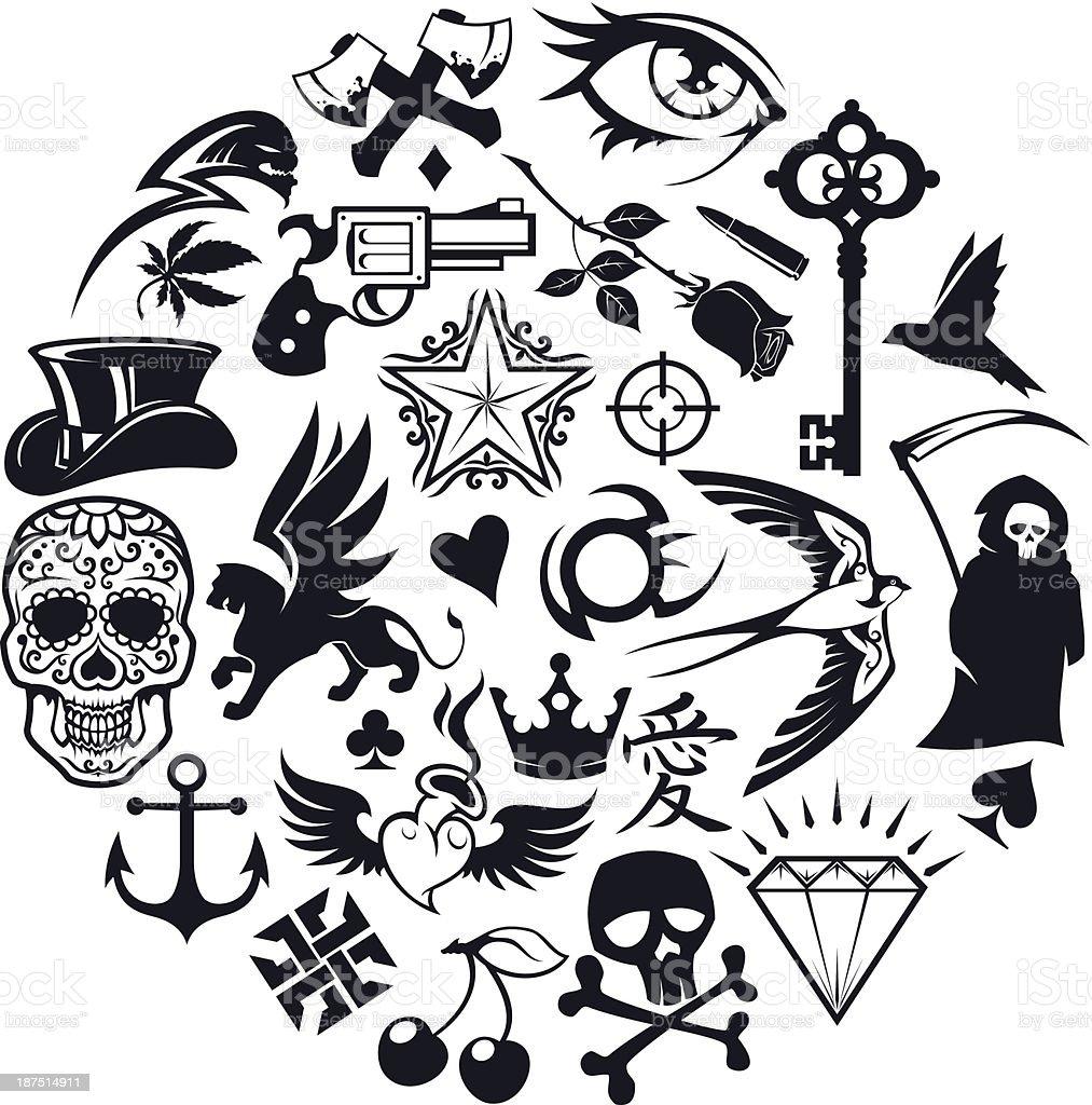 tattoo-icons set – Vektorgrafik