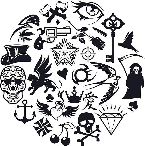 Conjunto de iconos de tatuaje - ilustración de arte vectorial