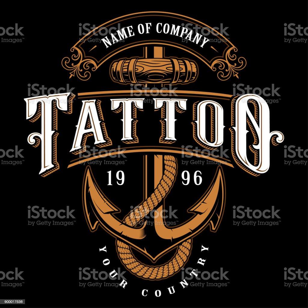 Tattoo Schriftzug Abbildung mit Anker (für dunklen Hintergrund) – Vektorgrafik