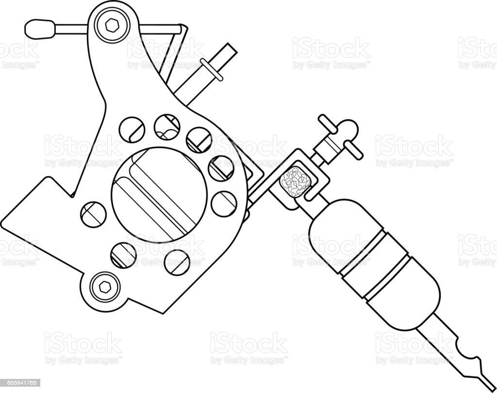Tattoo Machine Drawing Stock Vector Art More Images Of Gun Diagram Royalty Free Amp